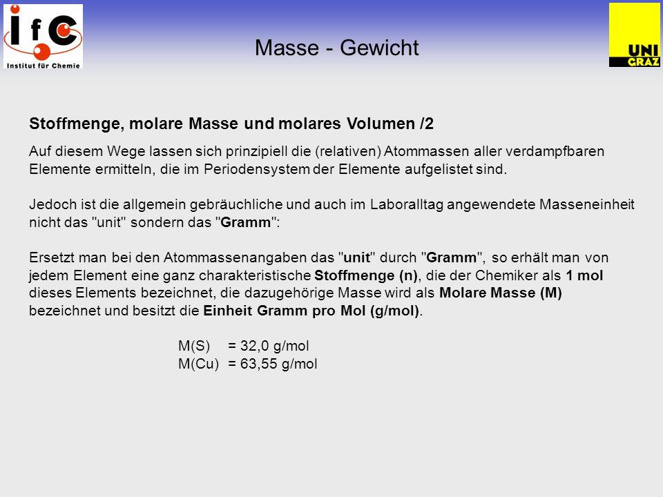 Masse - Gewicht Stoffmenge, molare Masse und molares Volumen /2
