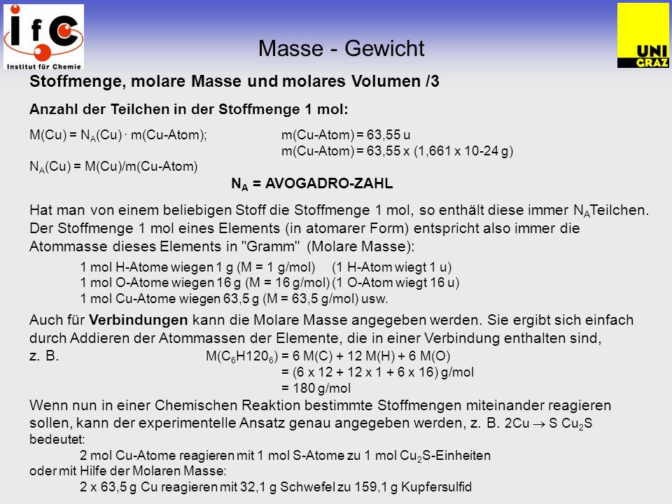 Masse - Gewicht Stoffmenge, molare Masse und molares Volumen /3