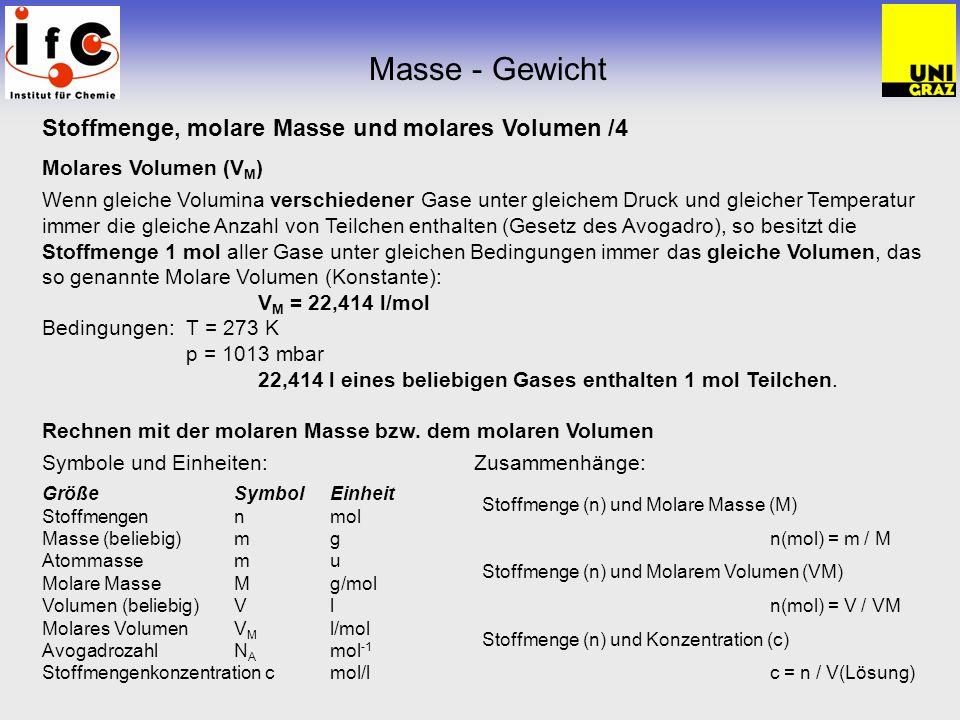 Masse - Gewicht Stoffmenge, molare Masse und molares Volumen /4