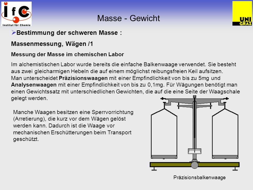 Masse - Gewicht Bestimmung der schweren Masse :
