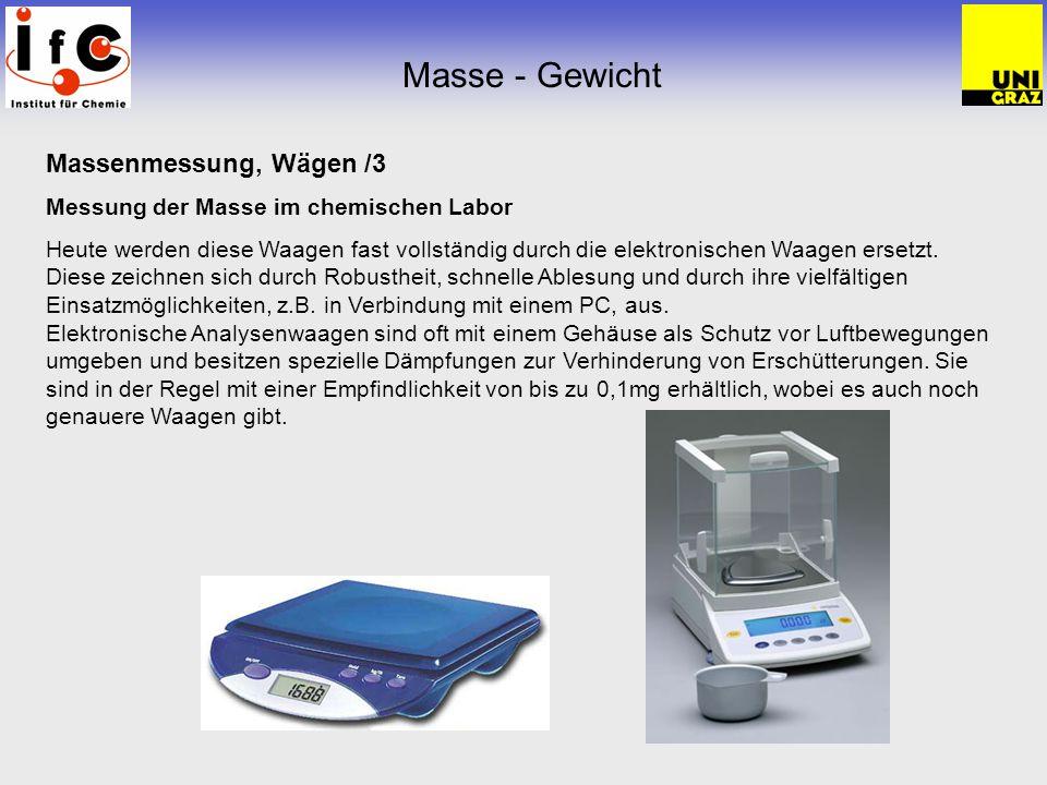 Masse - Gewicht Massenmessung, Wägen /3