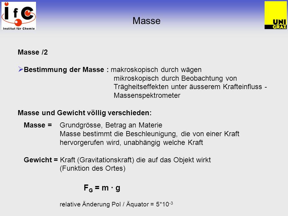 Masse Masse /2 Bestimmung der Masse : makroskopisch durch wägen