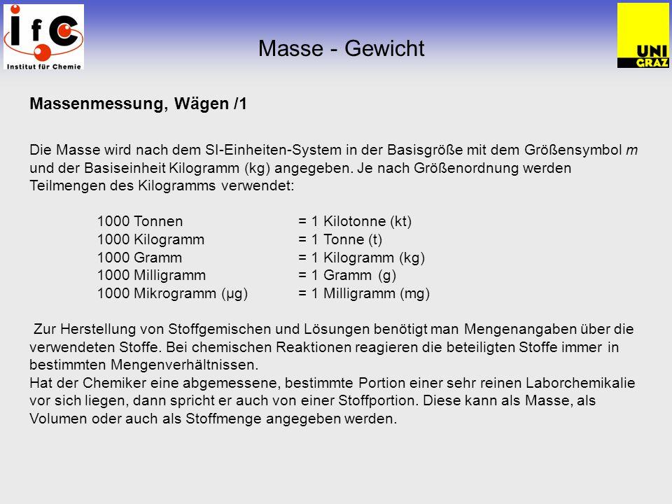 Masse - Gewicht Massenmessung, Wägen /1