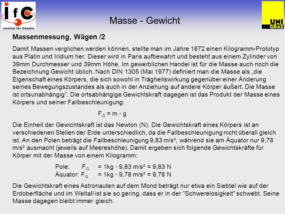 Masse - Gewicht Massenmessung, Wägen /2