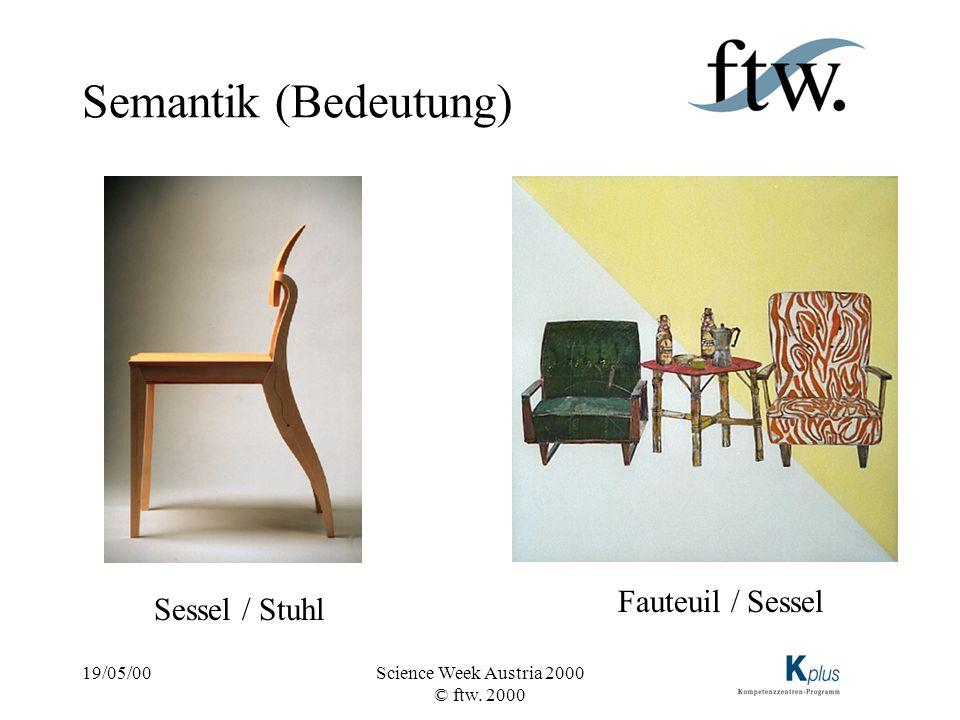 Semantik (Bedeutung) Fauteuil / Sessel Sessel / Stuhl 19/05/00