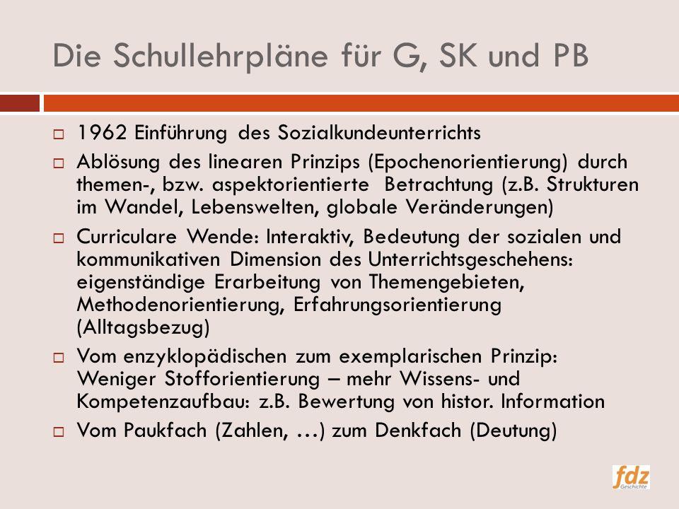 Die Schullehrpläne für G, SK und PB