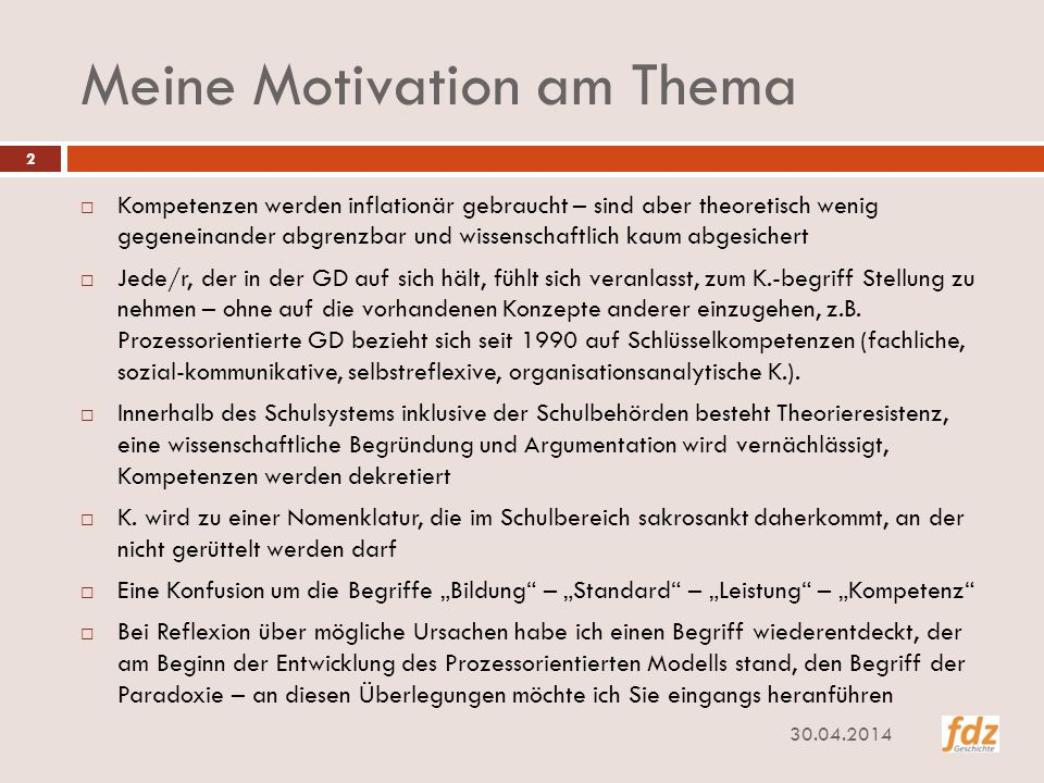 Meine Motivation am Thema