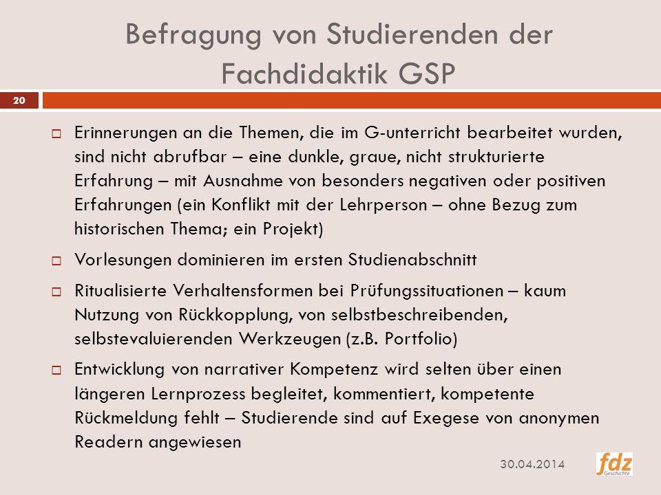 Befragung von Studierenden der Fachdidaktik GSP