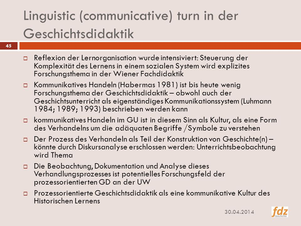 Linguistic (communicative) turn in der Geschichtsdidaktik