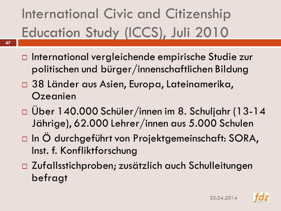 International Civic and Citizenship Education Study (ICCS), Juli 2010