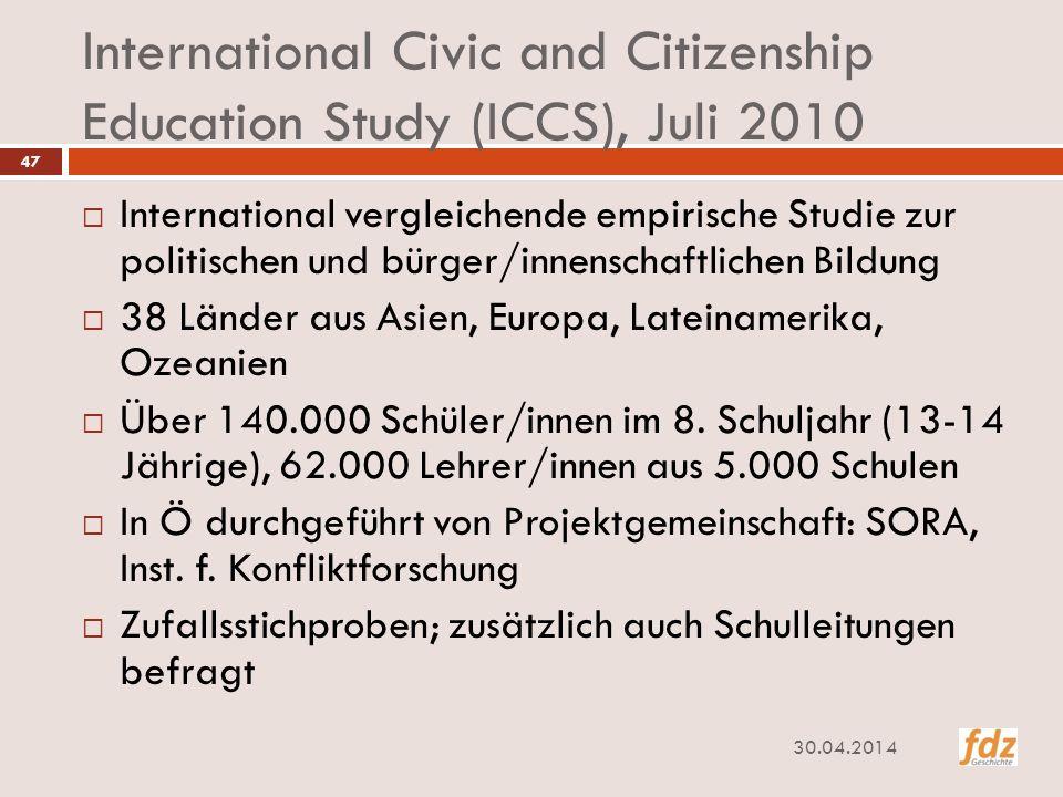 International Civic and Citizenship Education Study (ICCS), Juli 2010