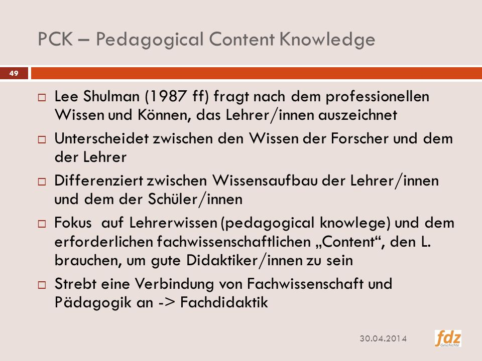 PCK – Pedagogical Content Knowledge