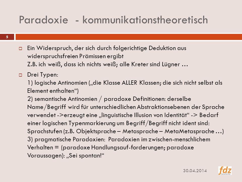 Paradoxie - kommunikationstheoretisch