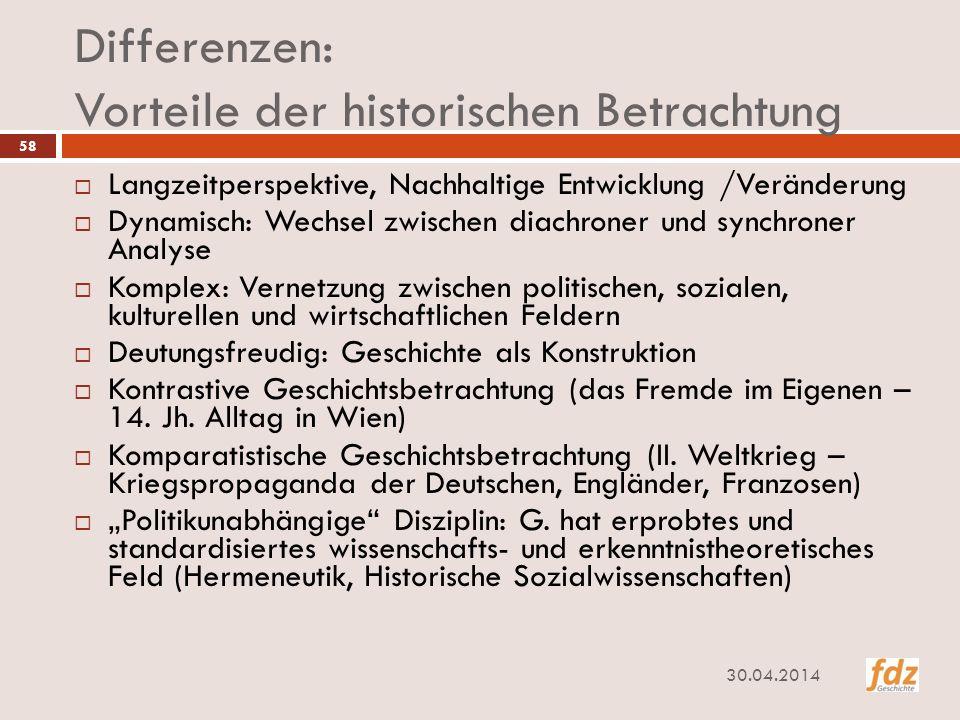Differenzen: Vorteile der historischen Betrachtung