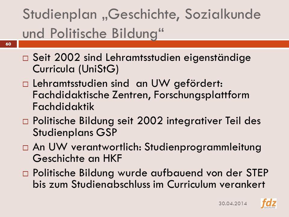 """Studienplan """"Geschichte, Sozialkunde und Politische Bildung"""