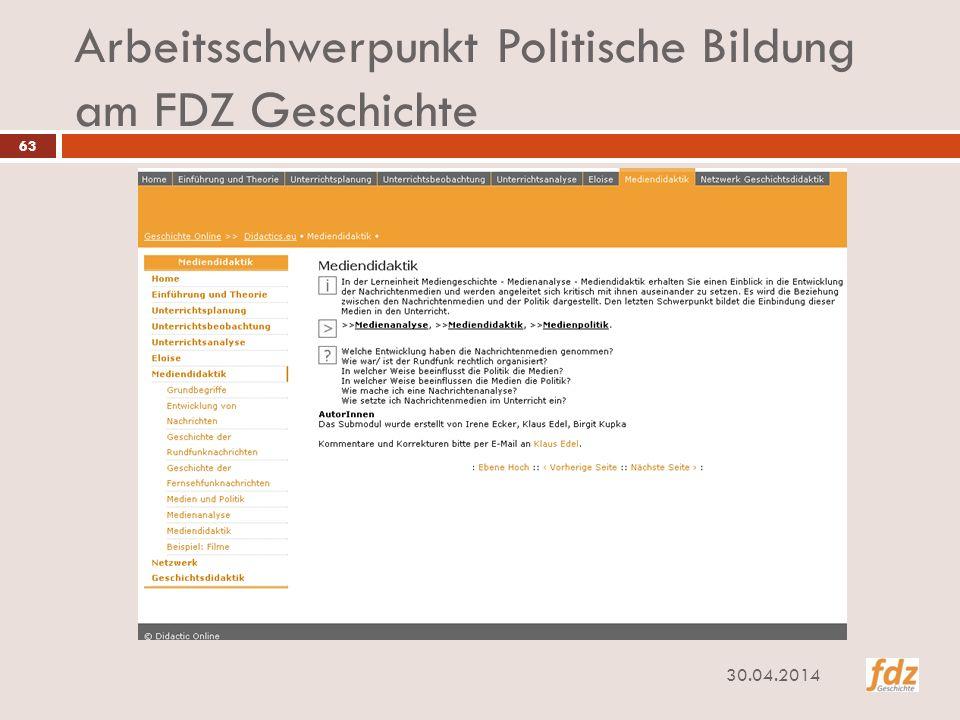 Arbeitsschwerpunkt Politische Bildung am FDZ Geschichte