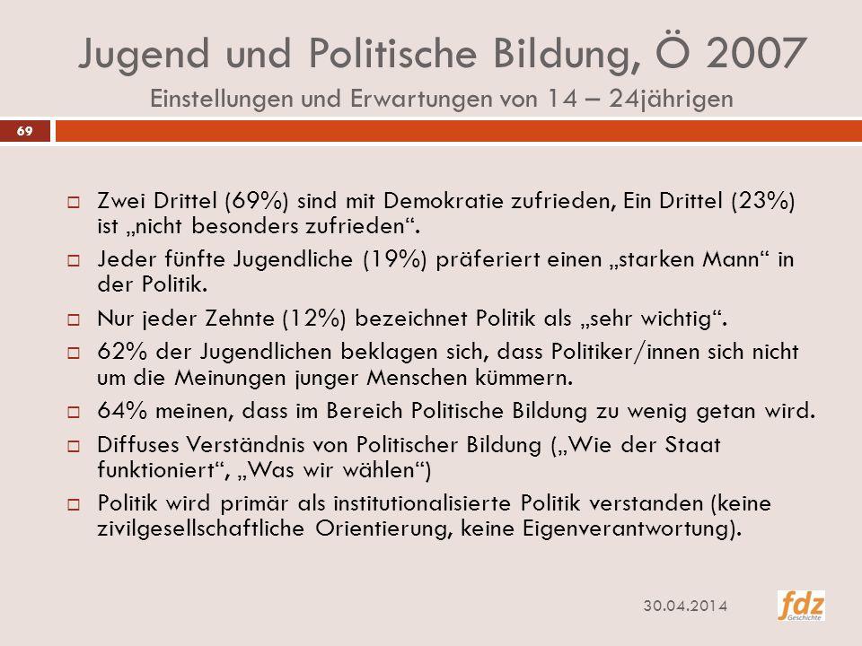 Jugend und Politische Bildung, Ö 2007 Einstellungen und Erwartungen von 14 – 24jährigen