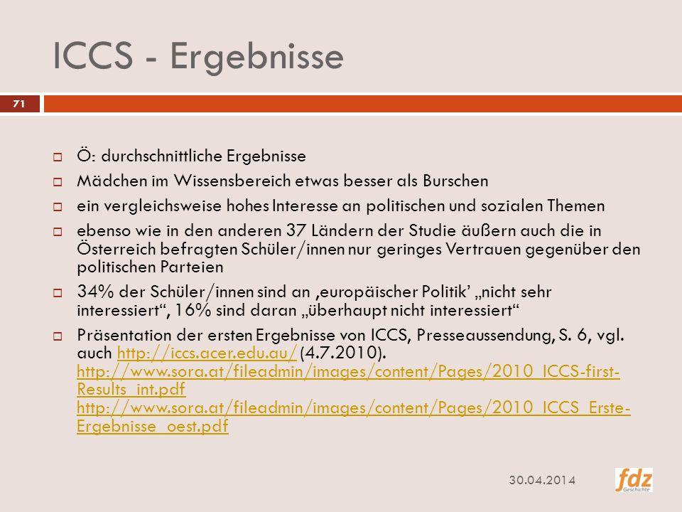 ICCS - Ergebnisse Ö: durchschnittliche Ergebnisse
