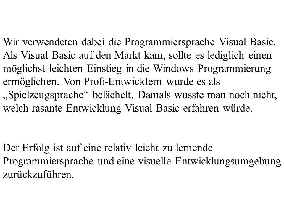 Wir verwendeten dabei die Programmiersprache Visual Basic
