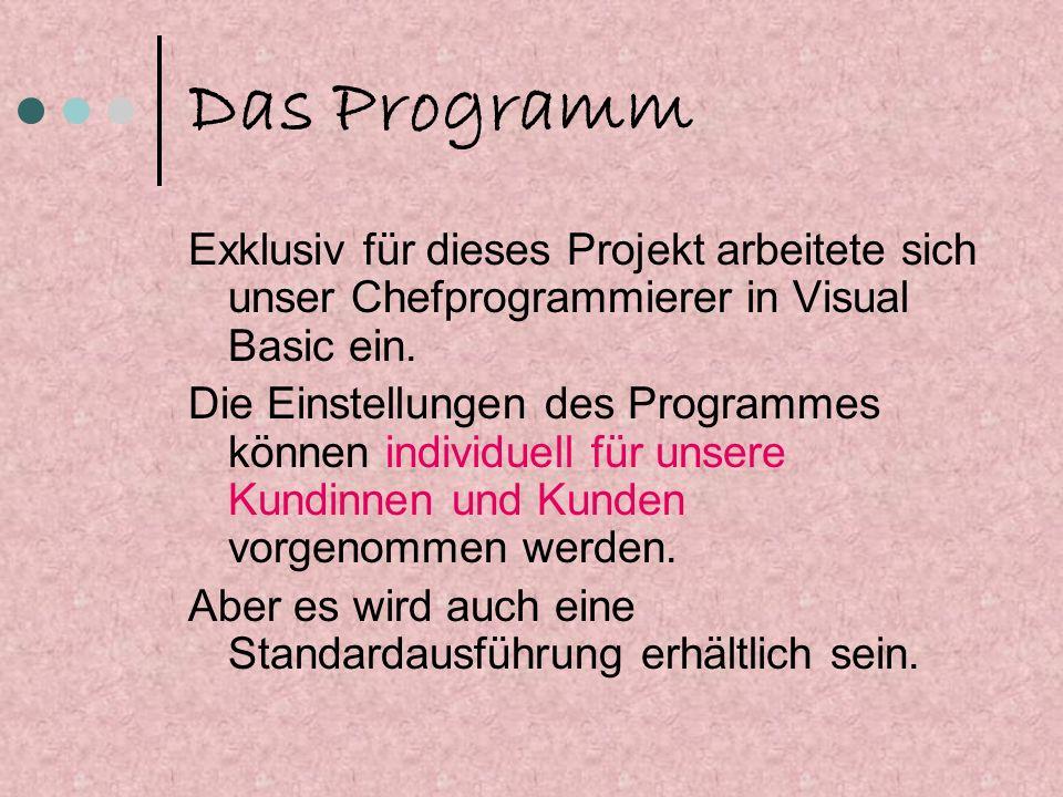 Das Programm Exklusiv für dieses Projekt arbeitete sich unser Chefprogrammierer in Visual Basic ein.