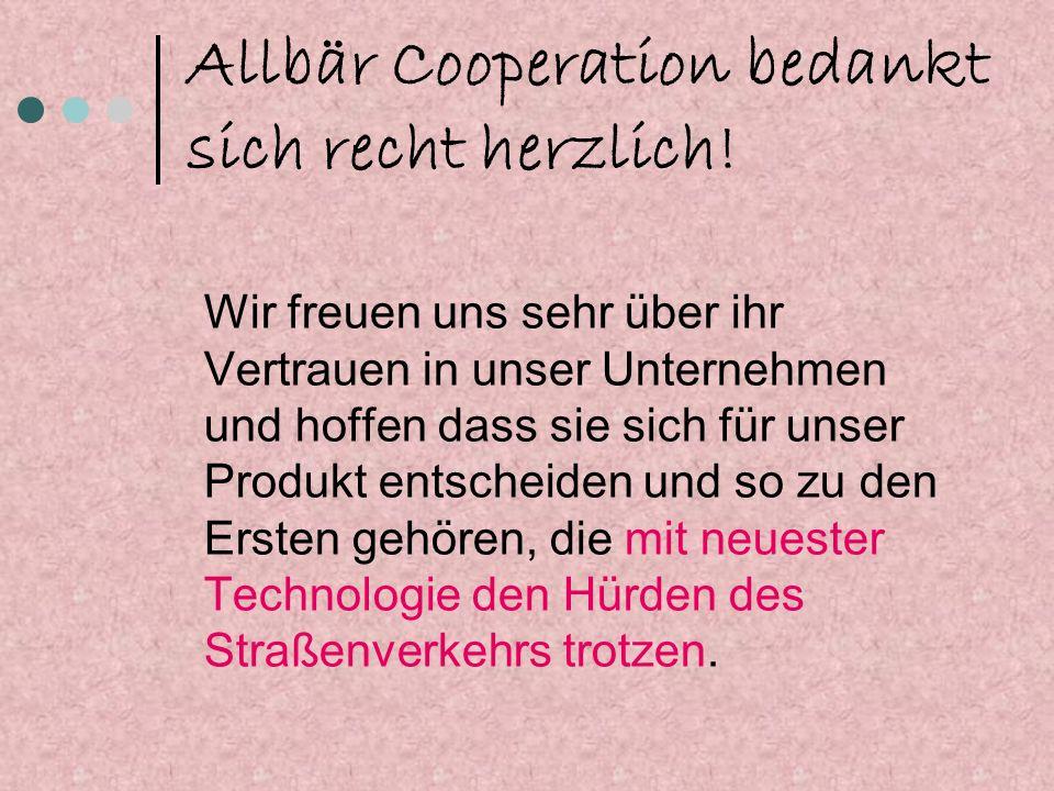 Allbär Cooperation bedankt sich recht herzlich!