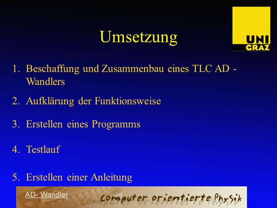 Umsetzung Beschaffung und Zusammenbau eines TLC AD - Wandlers