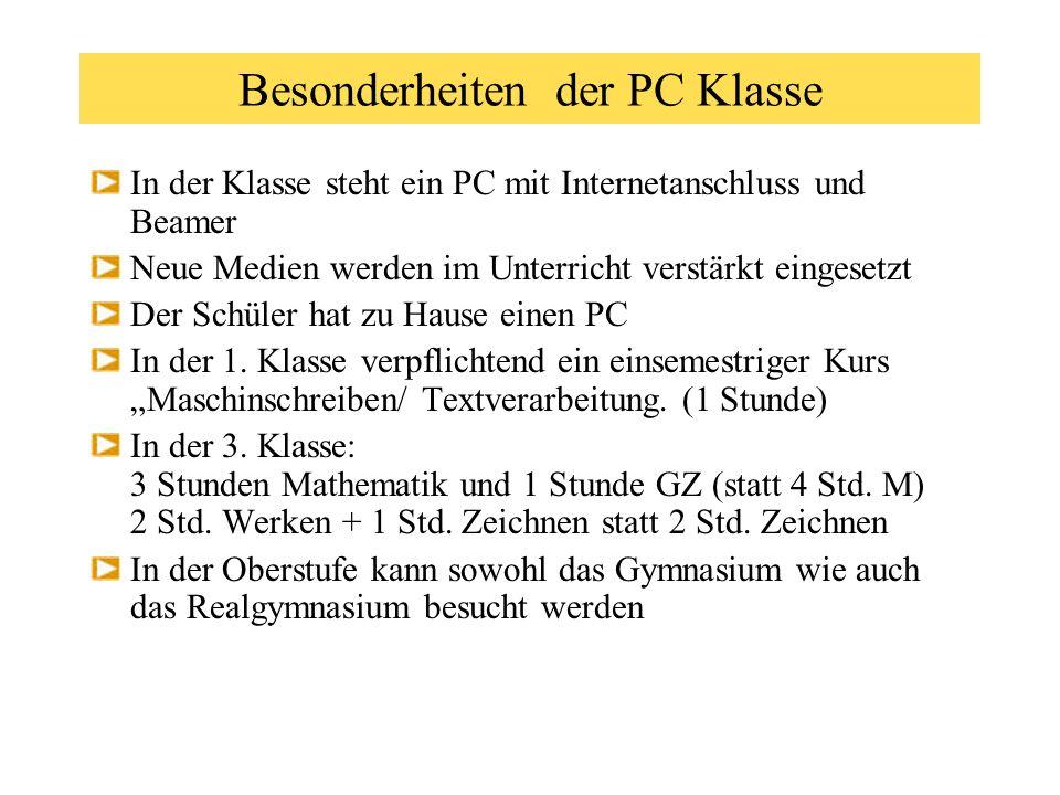 Besonderheiten der PC Klasse