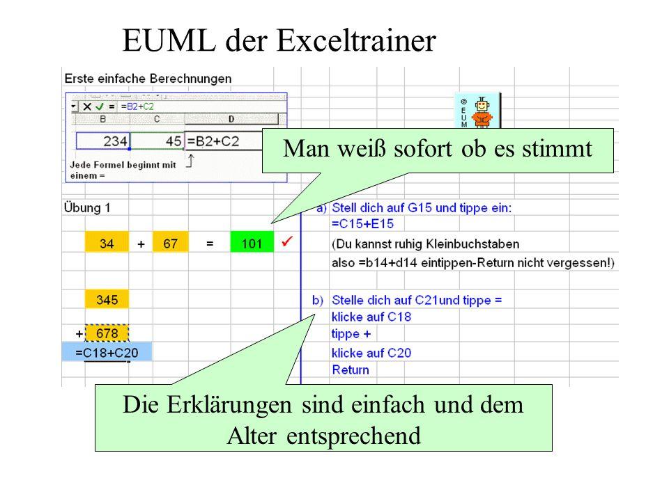 EUML der Exceltrainer Man weiß sofort ob es stimmt