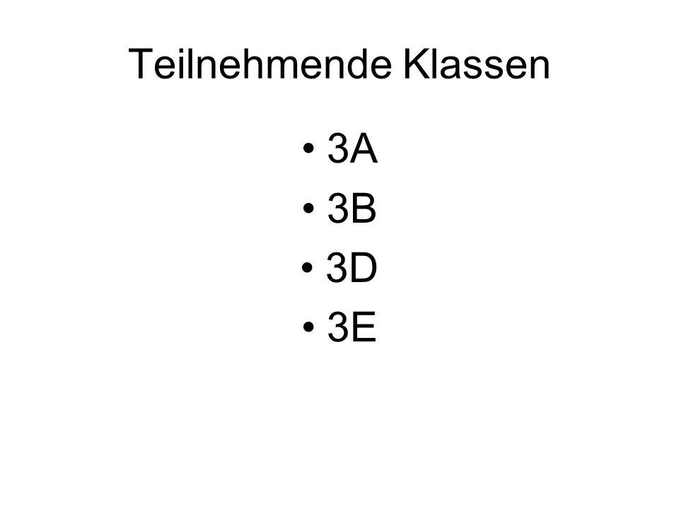Teilnehmende Klassen 3A 3B 3D 3E