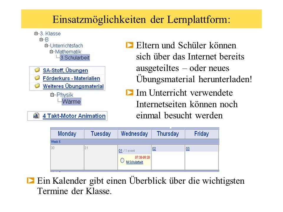 Einsatzmöglichkeiten der Lernplattform: