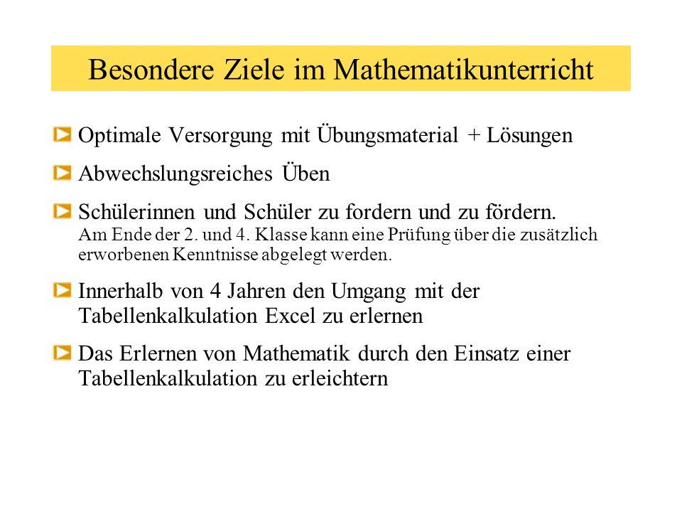 Besondere Ziele im Mathematikunterricht