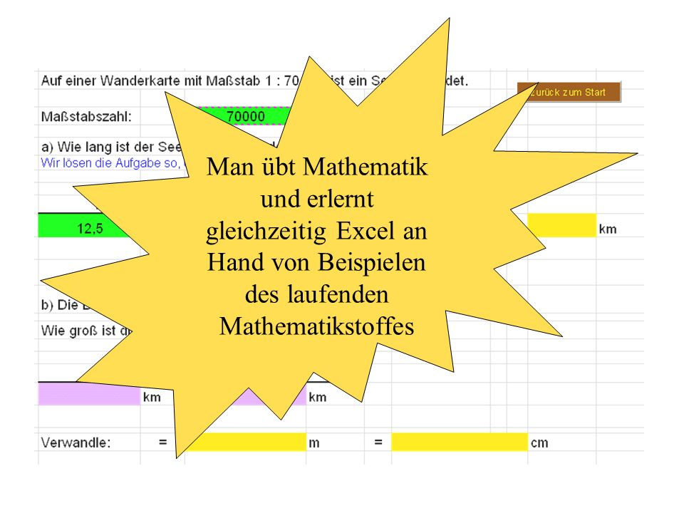 Man übt Mathematik und erlernt gleichzeitig Excel an Hand von Beispielen des laufenden Mathematikstoffes