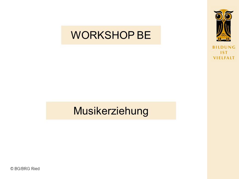 WORKSHOP BE Musikerziehung © BG/BRG Ried