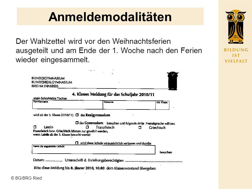 Anmeldemodalitäten Der Wahlzettel wird vor den Weihnachtsferien ausgeteilt und am Ende der 1. Woche nach den Ferien wieder eingesammelt.