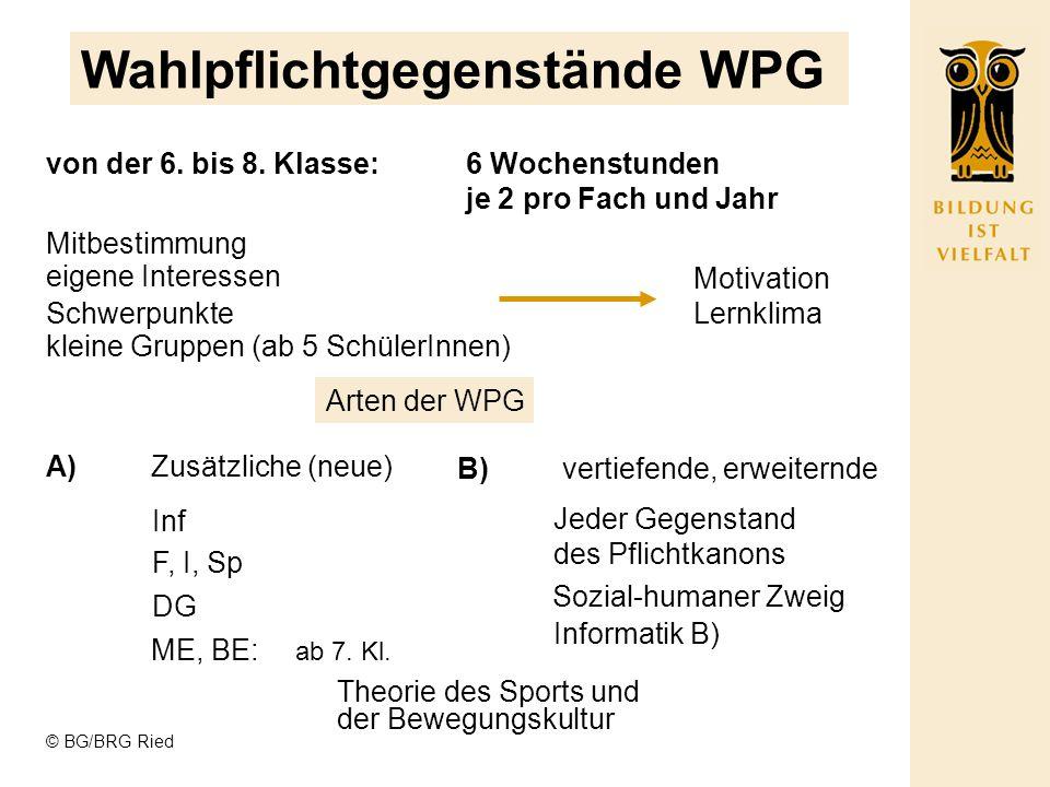 Wahlpflichtgegenstände WPG