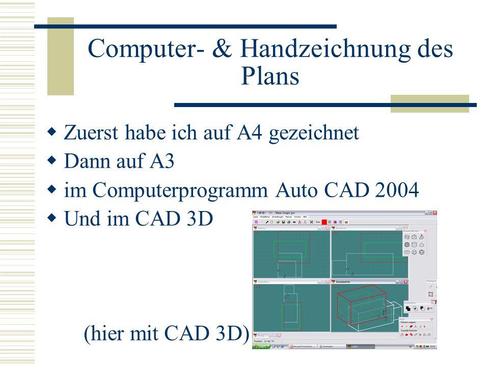 Computer- & Handzeichnung des Plans