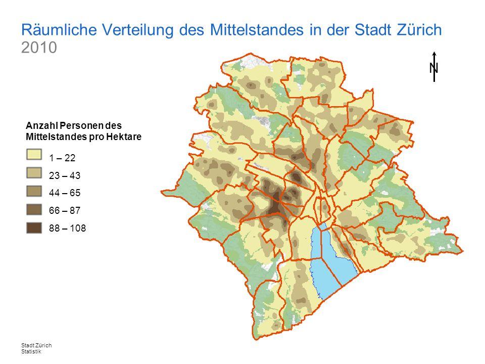 Räumliche Verteilung des Mittelstandes in der Stadt Zürich 2010
