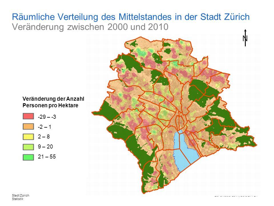 Räumliche Verteilung des Mittelstandes in der Stadt Zürich Veränderung zwischen 2000 und 2010