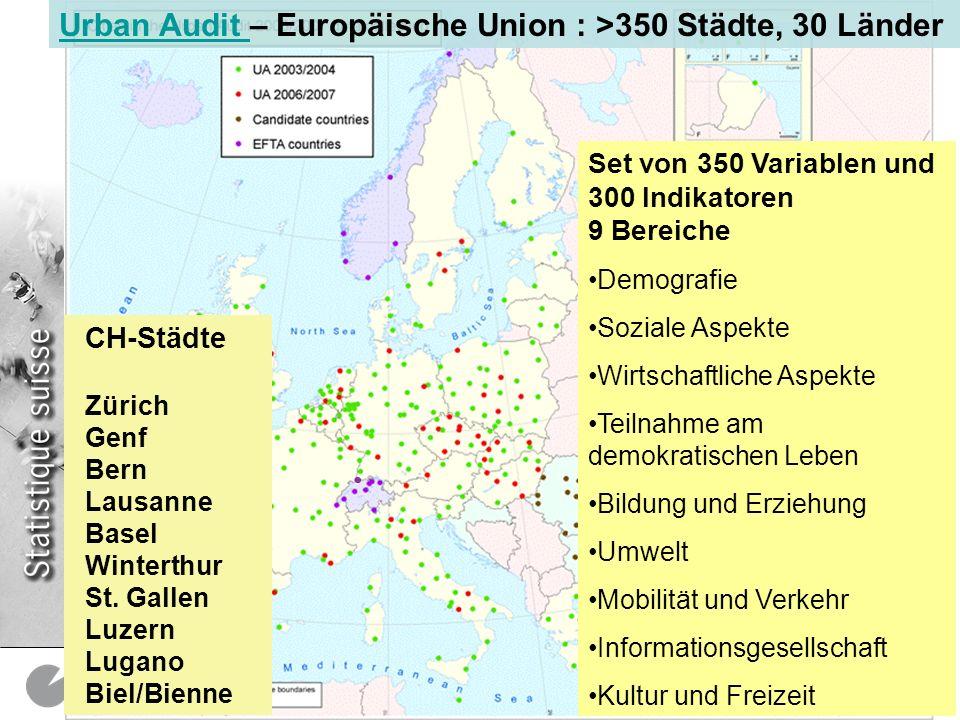 Urban Audit – Europäische Union : >350 Städte, 30 Länder