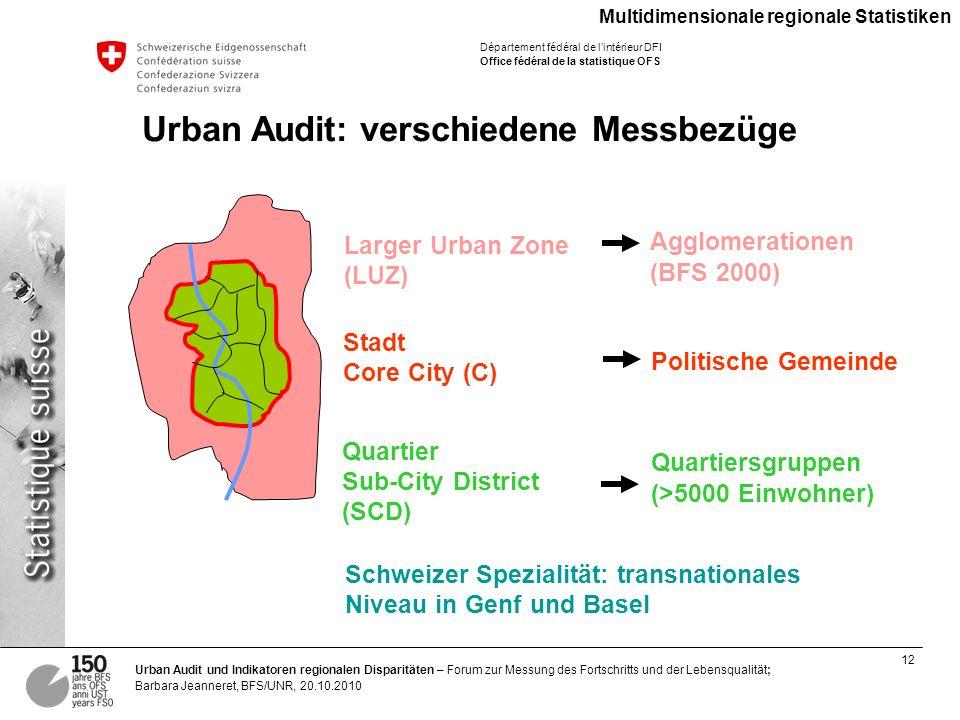 Urban Audit: verschiedene Messbezüge