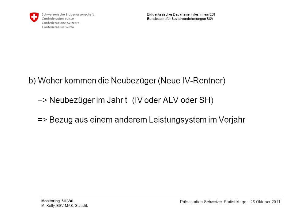 b) Woher kommen die Neubezüger (Neue IV-Rentner) => Neubezüger im Jahr t (IV oder ALV oder SH) => Bezug aus einem anderem Leistungsystem im Vorjahr