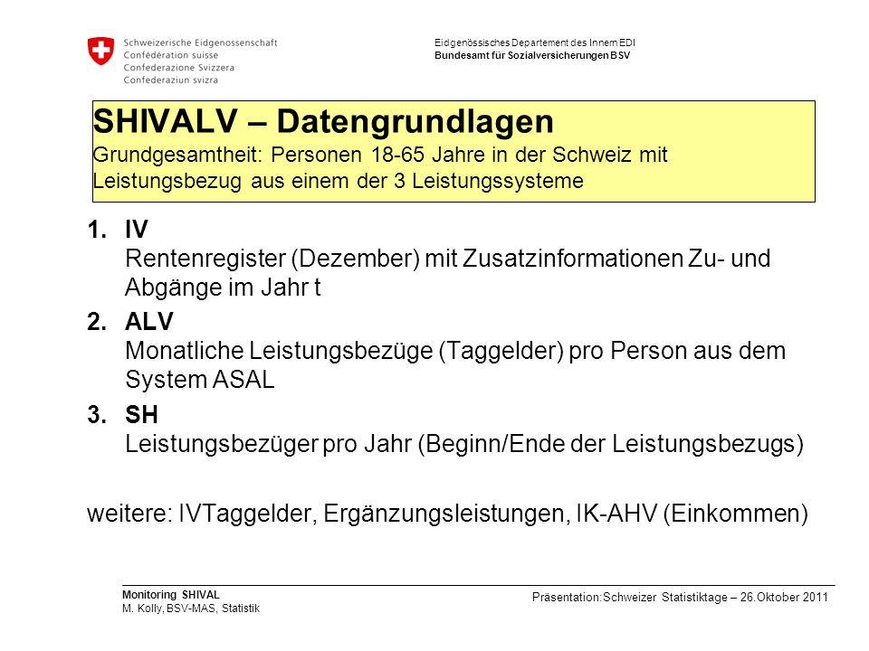 SHIVALV – Datengrundlagen Grundgesamtheit: Personen 18-65 Jahre in der Schweiz mit Leistungsbezug aus einem der 3 Leistungssysteme