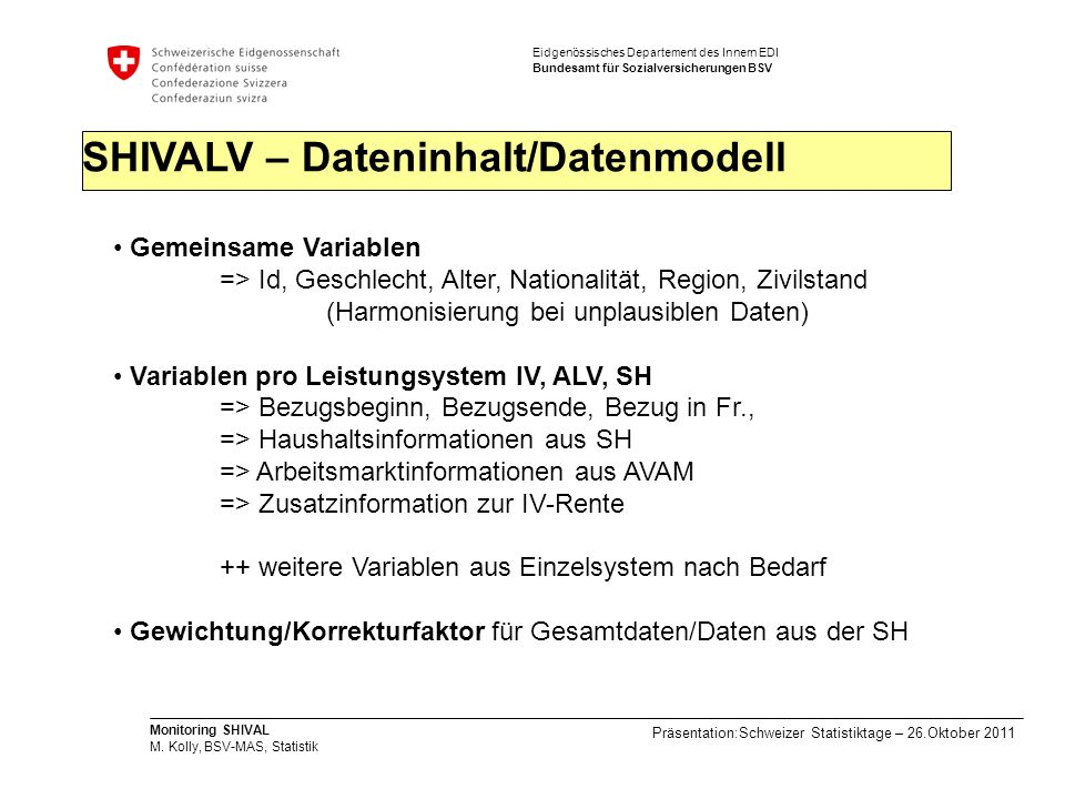 SHIVALV – Dateninhalt/Datenmodell