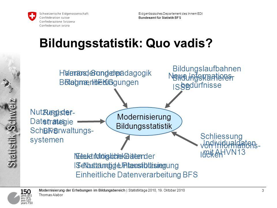 Bildungsstatistik: Quo vadis