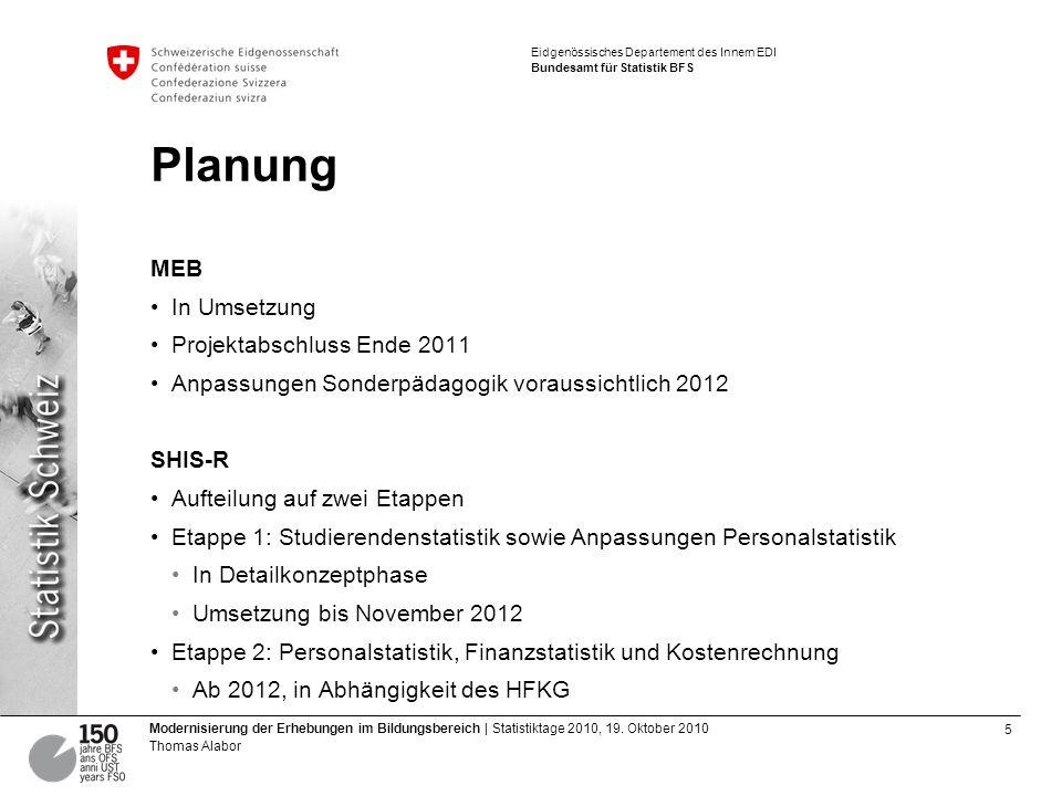 Planung MEB In Umsetzung Projektabschluss Ende 2011
