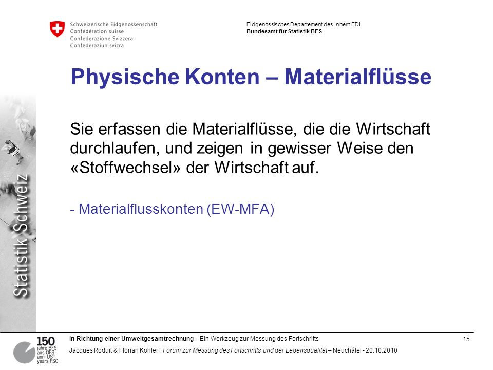 Physische Konten – Materialflüsse