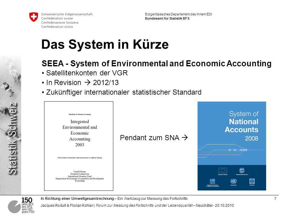 Das System in Kürze SEEA - System of Environmental and Economic Accounting. Satellitenkonten der VGR.
