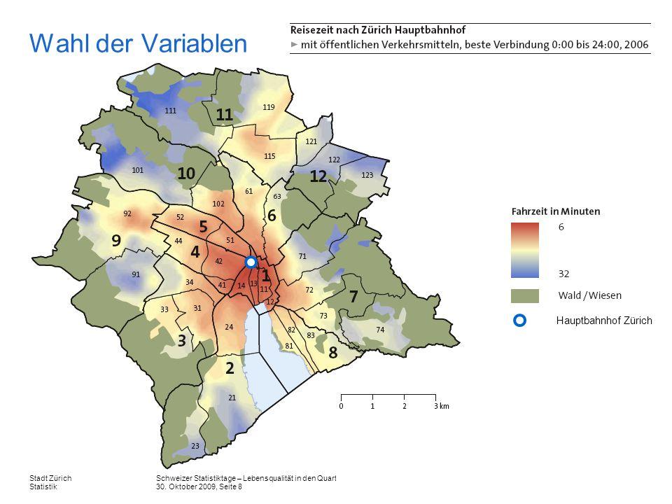 Wahl der Variablen Hauptbahnhof Zürich.