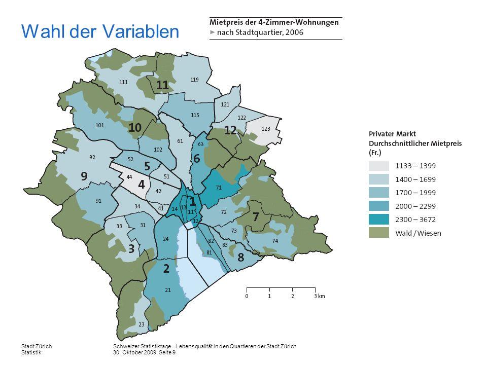 Wahl der Variablen Dieser Karte zeigt die durchschnittlichen Mietpreise der 4-Zimmer-Wohnungen nach Stadtquartier.