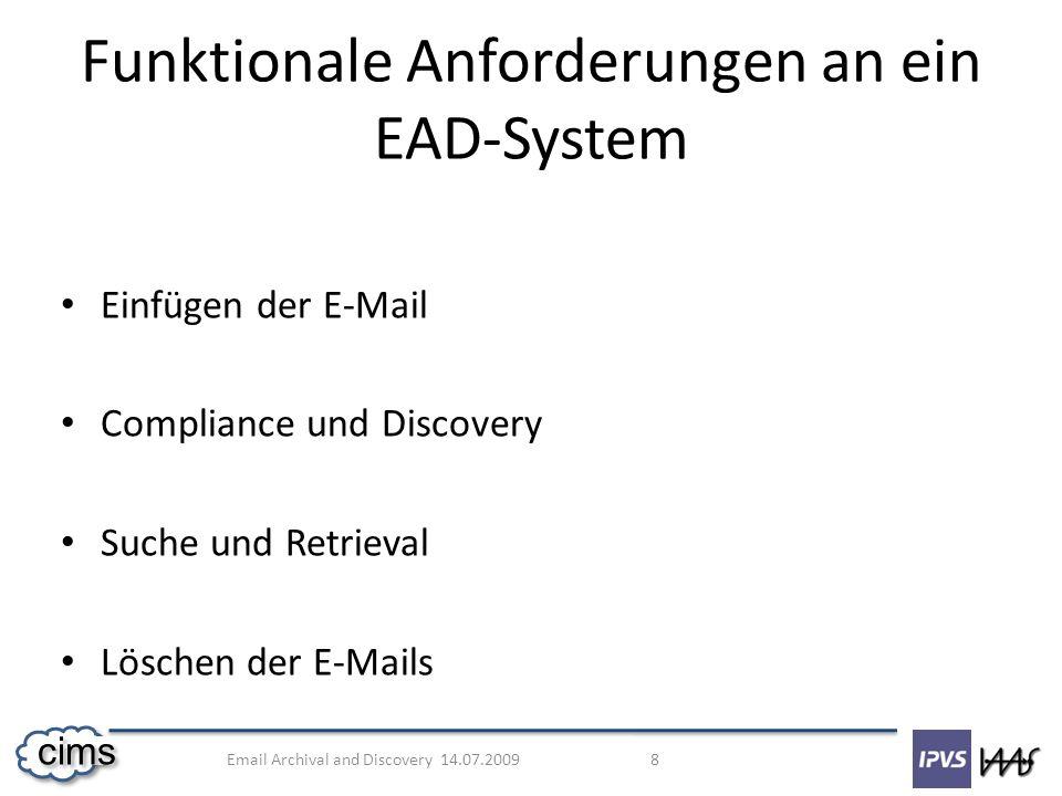Funktionale Anforderungen an ein EAD-System